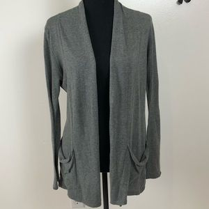 Express gray open front cardigan with pockets